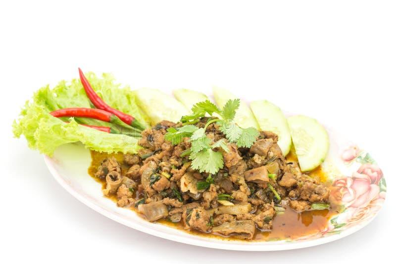Alimento tailandese tradizionale, insalata tritata piccante della carne di maiale fotografie stock libere da diritti