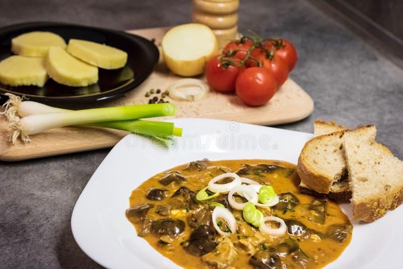 Alimento tradicional checo - goulash do cogumelo imagem de stock royalty free
