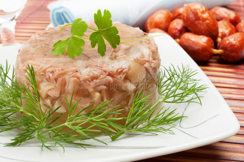 Alimento tradicional do russo - carne na alfazema fotografia de stock