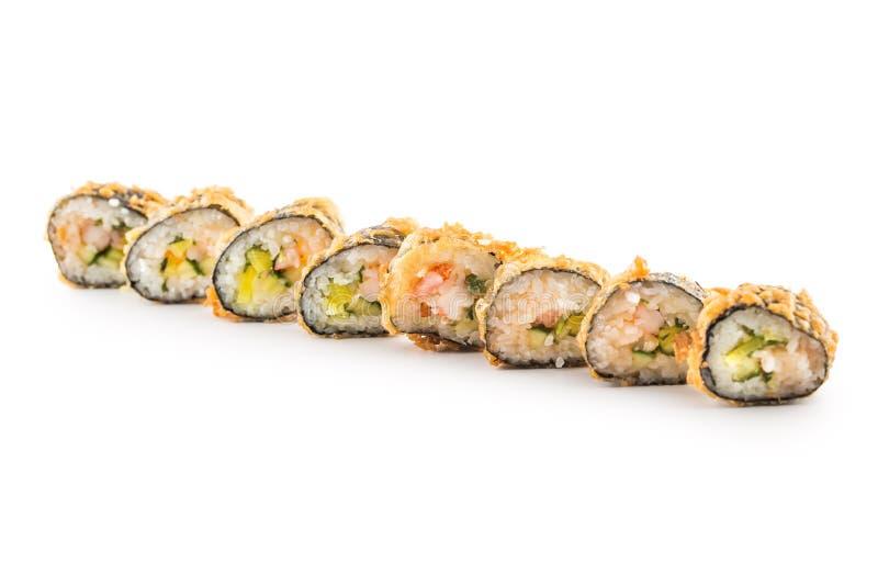 Alimento tradicional japonês do maki do sushi do Tempura imagem de stock royalty free