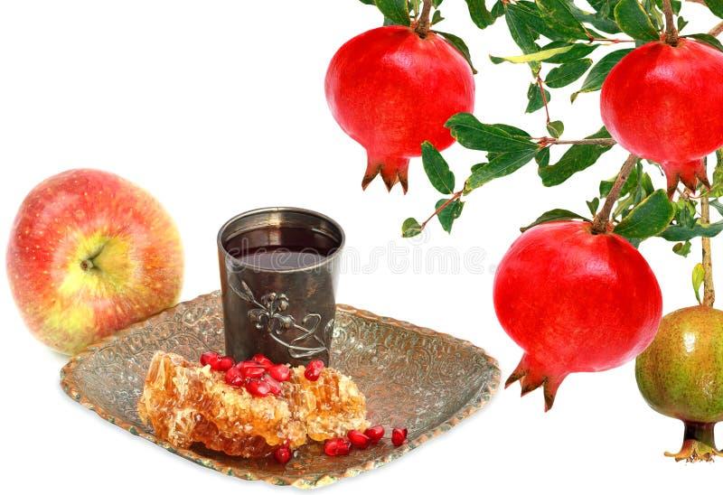 Alimento tradicional judaico para Rosh Hashana - ano novo judaico imagem de stock