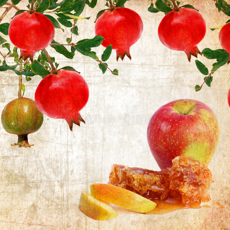 Alimento tradicional judaico para Rosh Hashana - ano novo judaico Estilo do vintage foto de stock