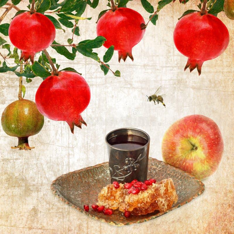 Alimento tradicional judaico para Rosh Hashana - ano novo judaico Estilo do vintage foto de stock royalty free