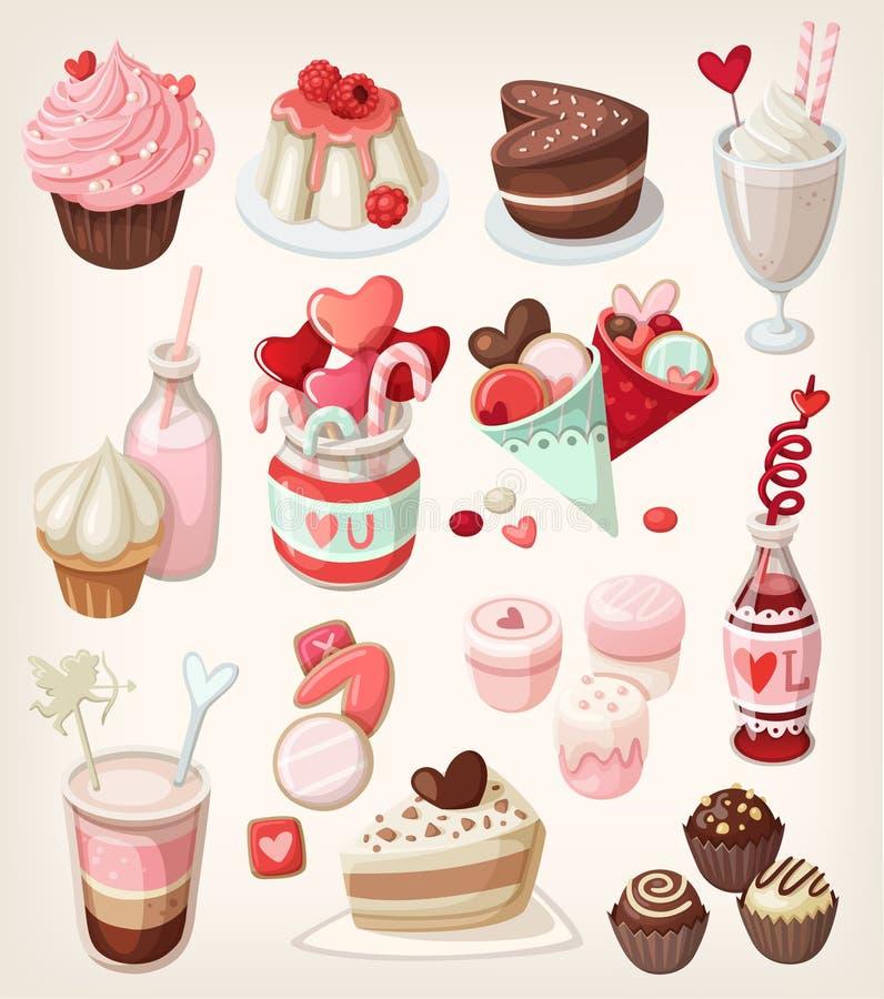 Alimento variopinto del biglietto di S. Valentino royalty illustrazione gratis