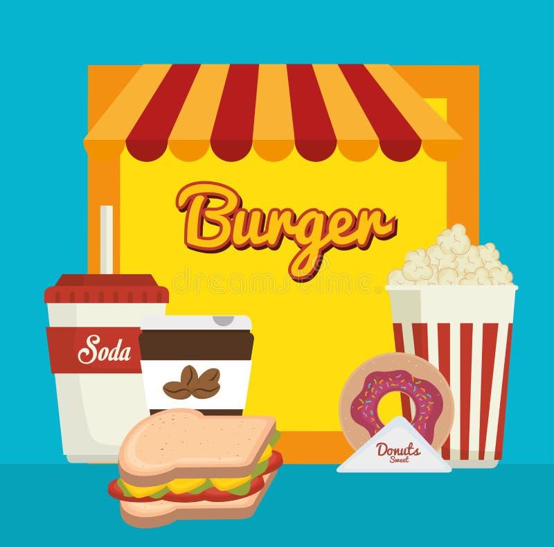 Alimento veloce e delizioso illustrazione di stock