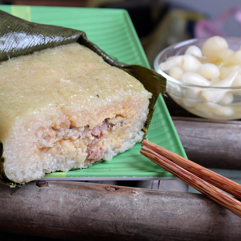 Alimento vietnamita, Tet, banh chung, alimento tradizionale fotografia stock
