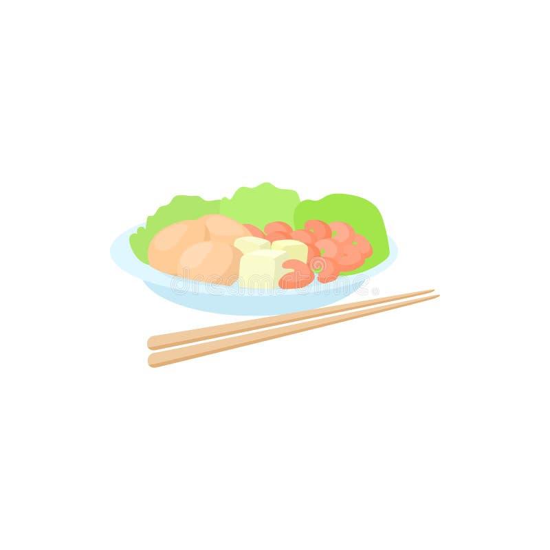 Alimento vietnamita tradizionale con l'icona dei bastoncini royalty illustrazione gratis