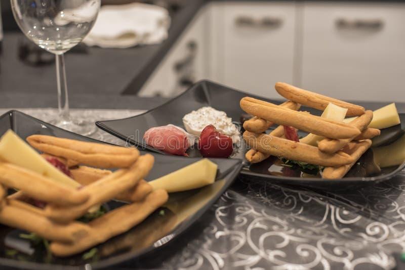 Alimento y vino italianos foto de archivo