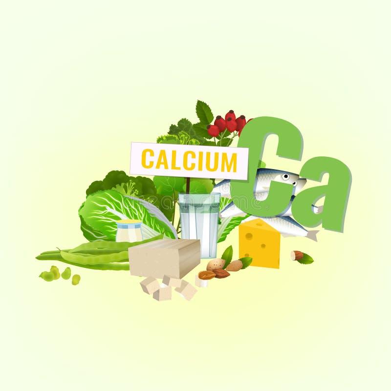 Alimentos altos do cálcio ilustração royalty free