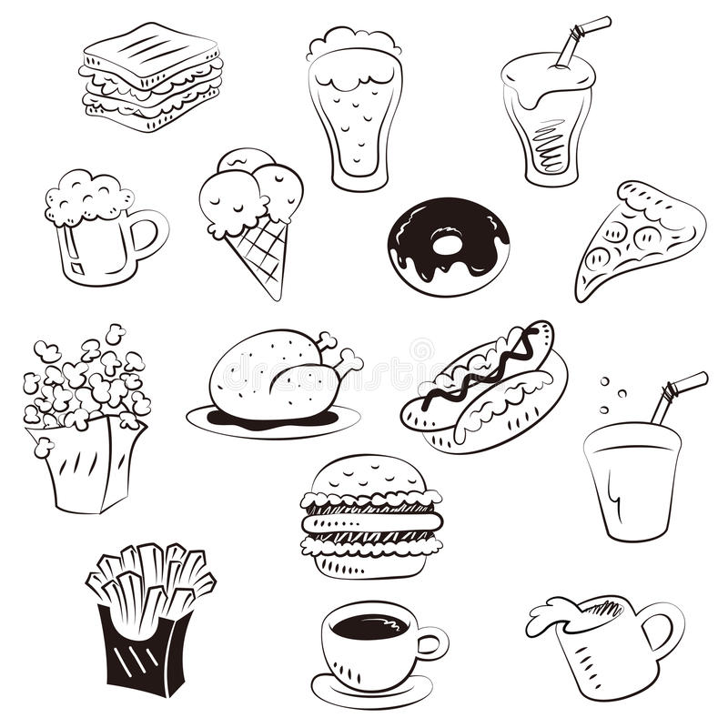 Alimentos da tração da mão no estilo da garatuja ilustração royalty free