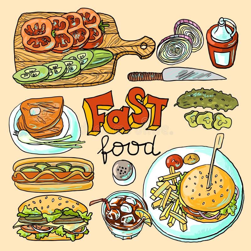 Alimentos de preparación rápida stock de ilustración