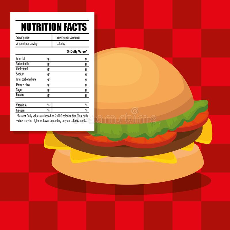 Alimentos de preparación rápida con hechos alimenticios ilustración del vector