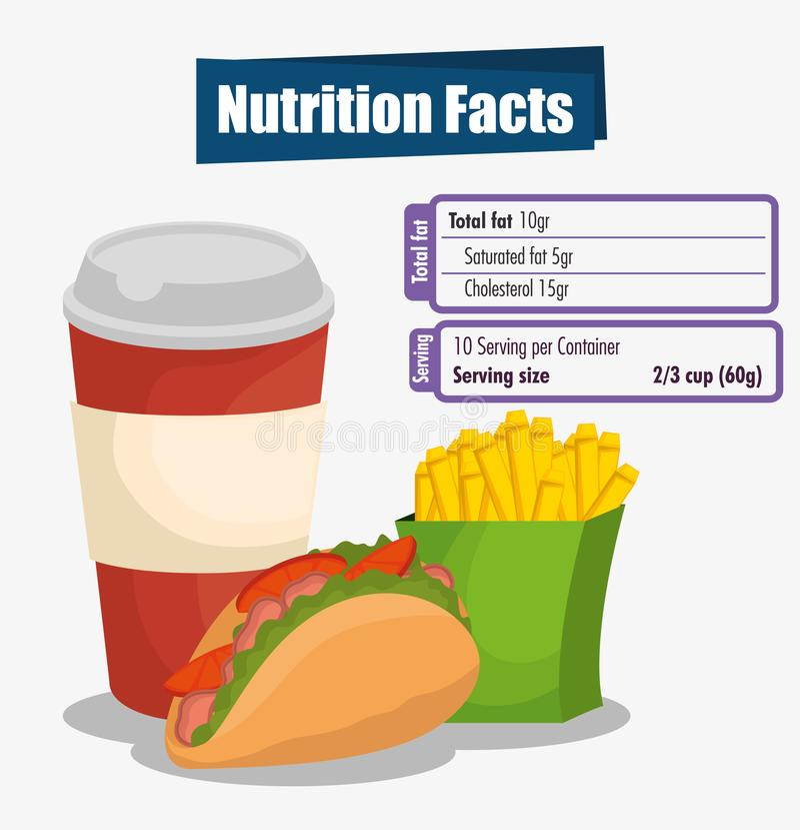Alimentos de preparación rápida con hechos alimenticios libre illustration