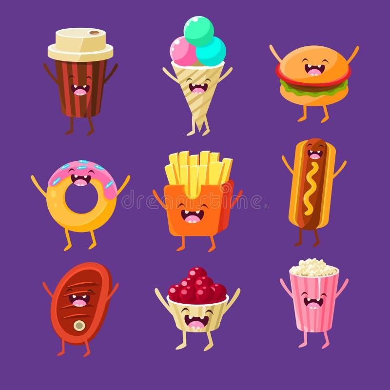Alimentos de preparación rápida de la diversión Platos con las caras lindas, felices libre illustration