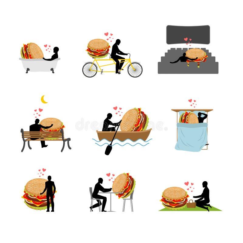 Alimentos de preparación rápida del amante conjunto Hombre y hamburguesa en cine amante libre illustration
