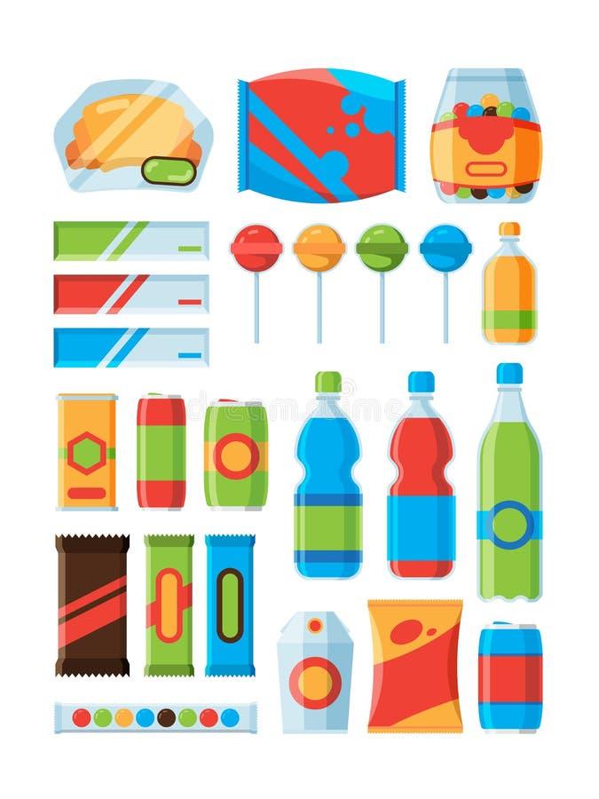 Alimentos de preparación rápida del bocado La soda bebe nueces de los microprocesadores que el chocolate obstruye imágenes del ve ilustración del vector