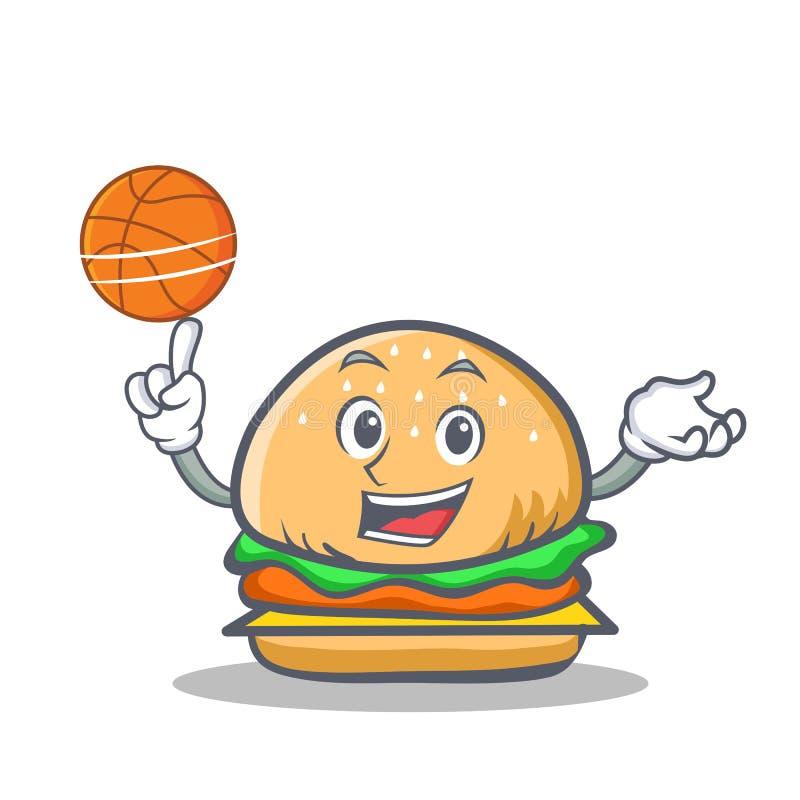 Alimentos de preparación rápida del carácter de la hamburguesa del baloncesto libre illustration