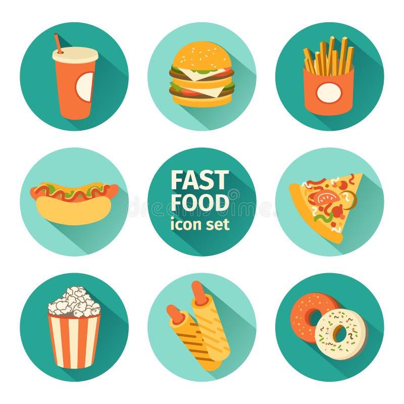 Alimentos de preparación rápida determinados del icono del vector Diseño plano ilustración del vector