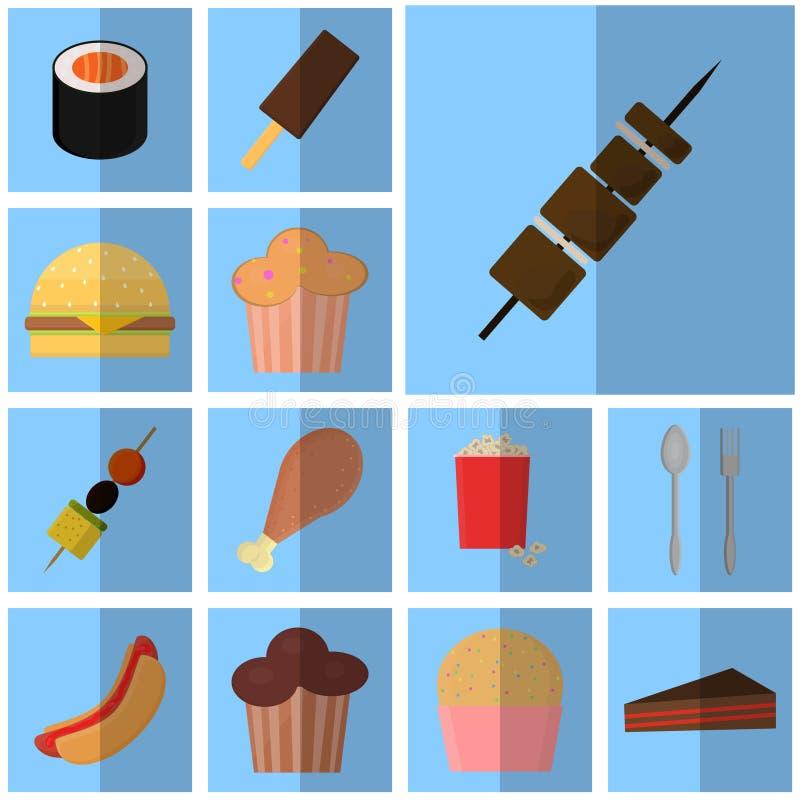 Alimentos de preparación rápida planos azules de los iconos icono simple del vector con la comida y la bebida de la sombra Parril stock de ilustración