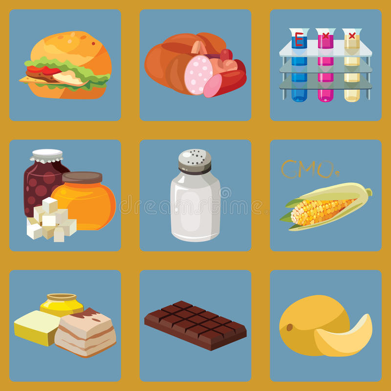 Alimentos de preparación rápida, salchicha, añadidos químicos, carbohidratos rápidos, sal libre illustration