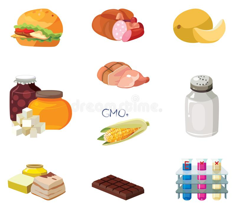 Alimentos de preparación rápida, salchichas, comidas pesadas, carbohidratos rápidos, comidas ahumadas, GMOs, sal, grasas refracta libre illustration