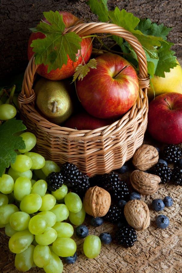 Alimentos del otoño en una cesta foto de archivo libre de regalías