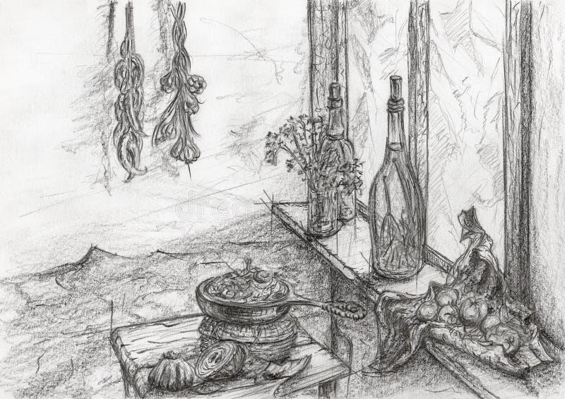 Alimentos dentro da cozinha ilustração stock