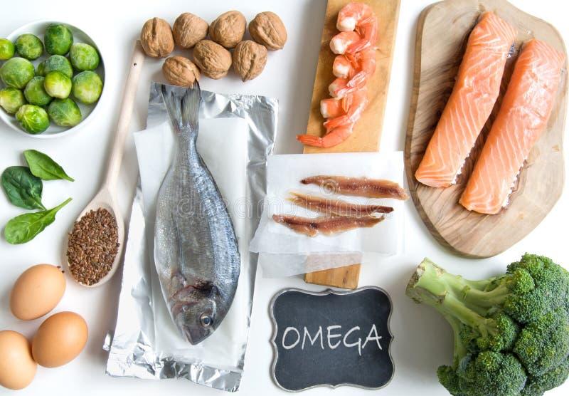 Alimentos do ácido gordo da ômega foto de stock royalty free
