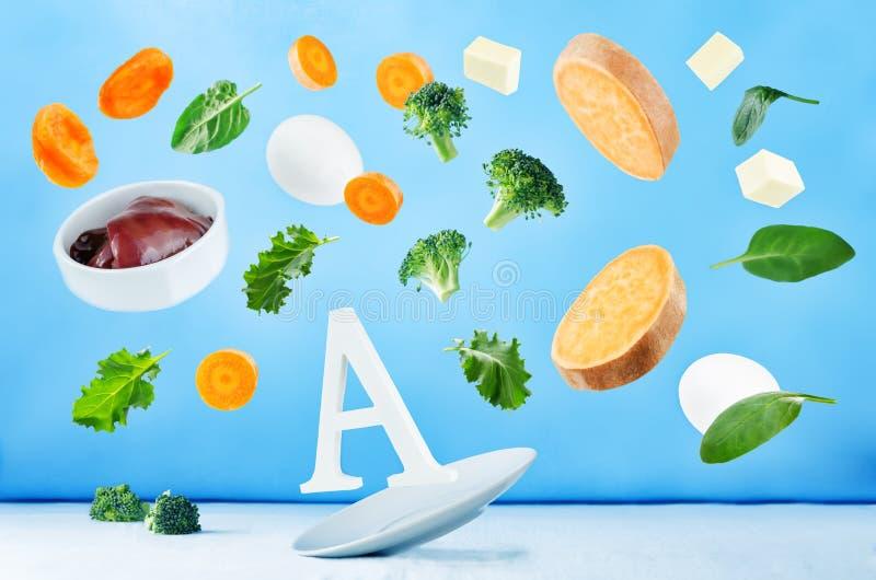 Alimentos do voo ricos na vitamina a fotografia de stock royalty free