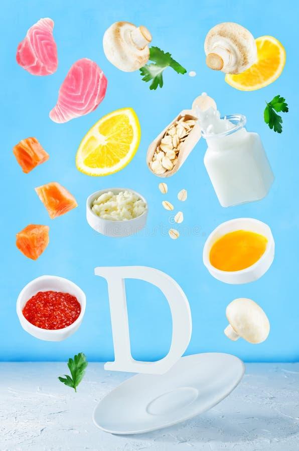 Alimentos do voo ricos na vitamina d fotos de stock royalty free