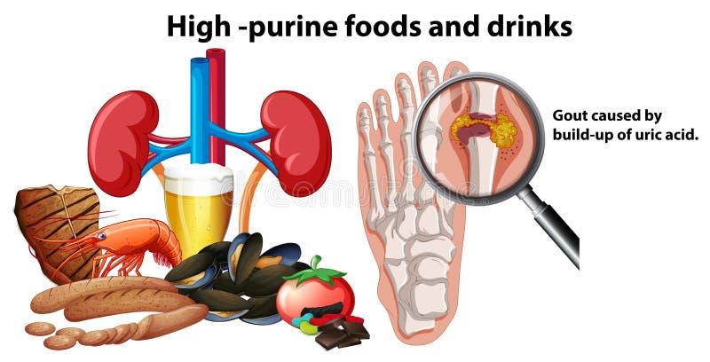 Alimentos e bebidas da Alto-purina ilustração do vetor