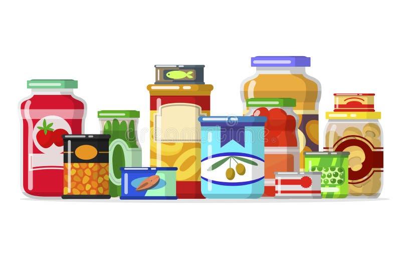 Alimentos enlatados en fila libre illustration