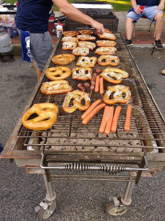Alimentos justos do BBQ da rua, NJ, EUA imagem de stock