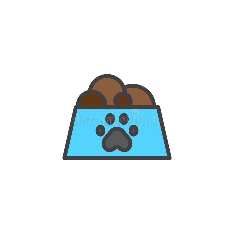 Alimentos para animais de estimação no ícone enchido bacia do esboço ilustração do vetor