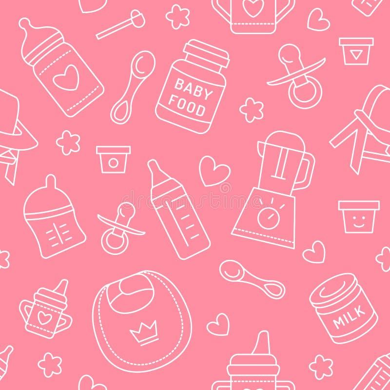 Alimentos para niños inconsútiles del modelo, color en colores pastel, ejemplo del vector Línea fina iconos de la alimentación in stock de ilustración