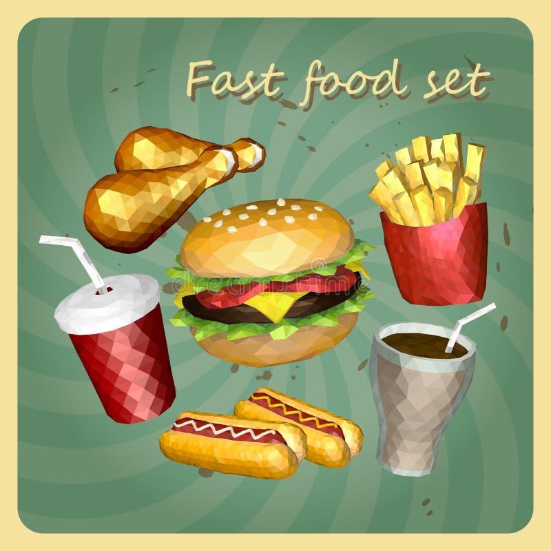 Alimentos rápidos do estilo do polígono ajustados ilustração do vetor