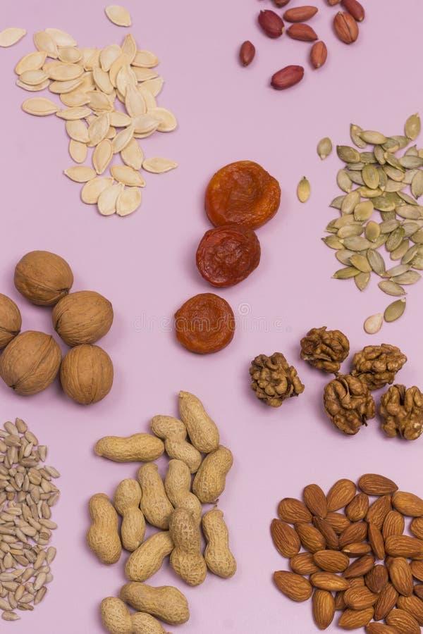Alimentos ricos em ácidos gordos, incluindo amêndoas, sementes de girassol, nozes, damascos secos, amendoins, sementes de abóbora fotografia de stock