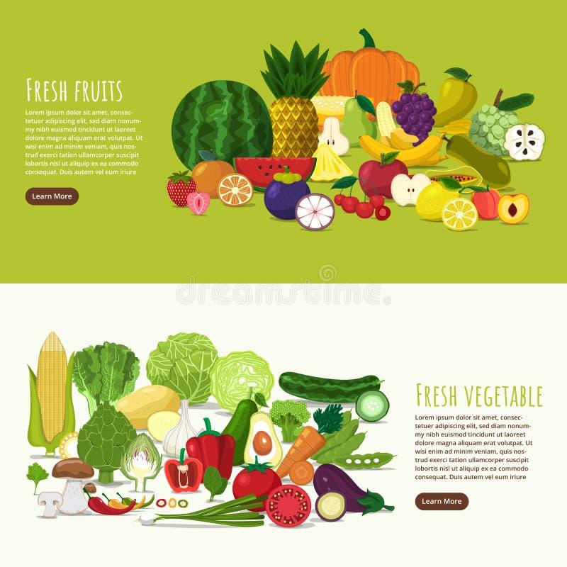 Alimentos saudáveis do conceito de projeto da ilustração como frutos frescos e legumes frescos Molde ajustado da bandeira do veto ilustração stock