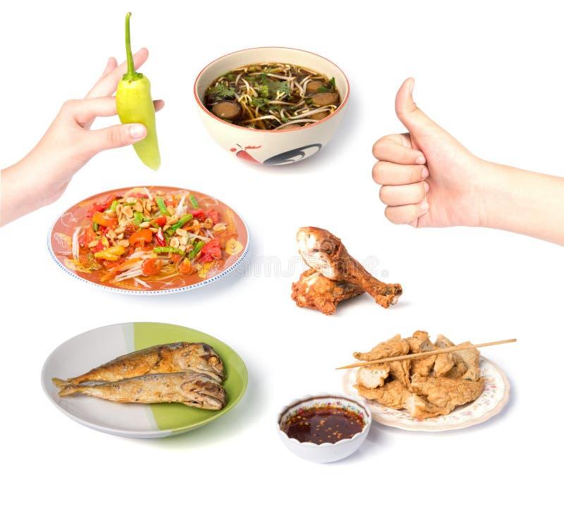 Alimentos tailandeses no fundo branco fotos de stock royalty free