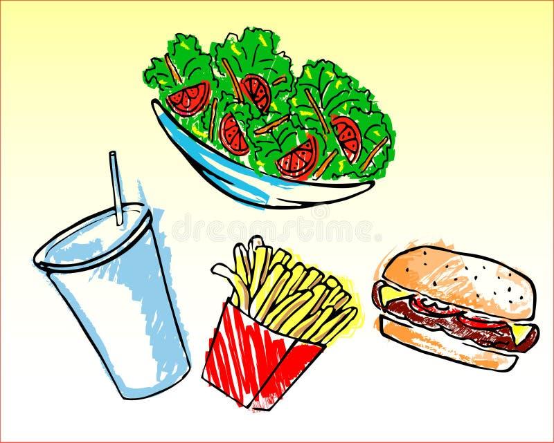 Aliments de préparation rapide illustration libre de droits