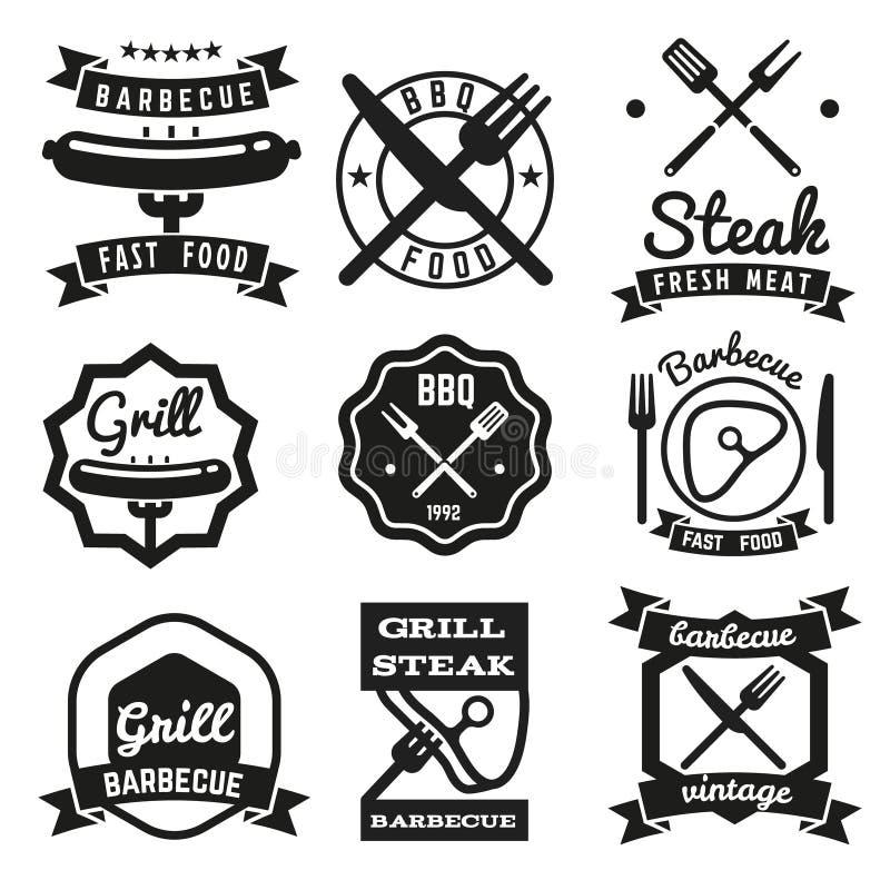 Aliments de préparation rapide, BBQ, emblèmes de vecteur de vintage de barbecue illustration stock