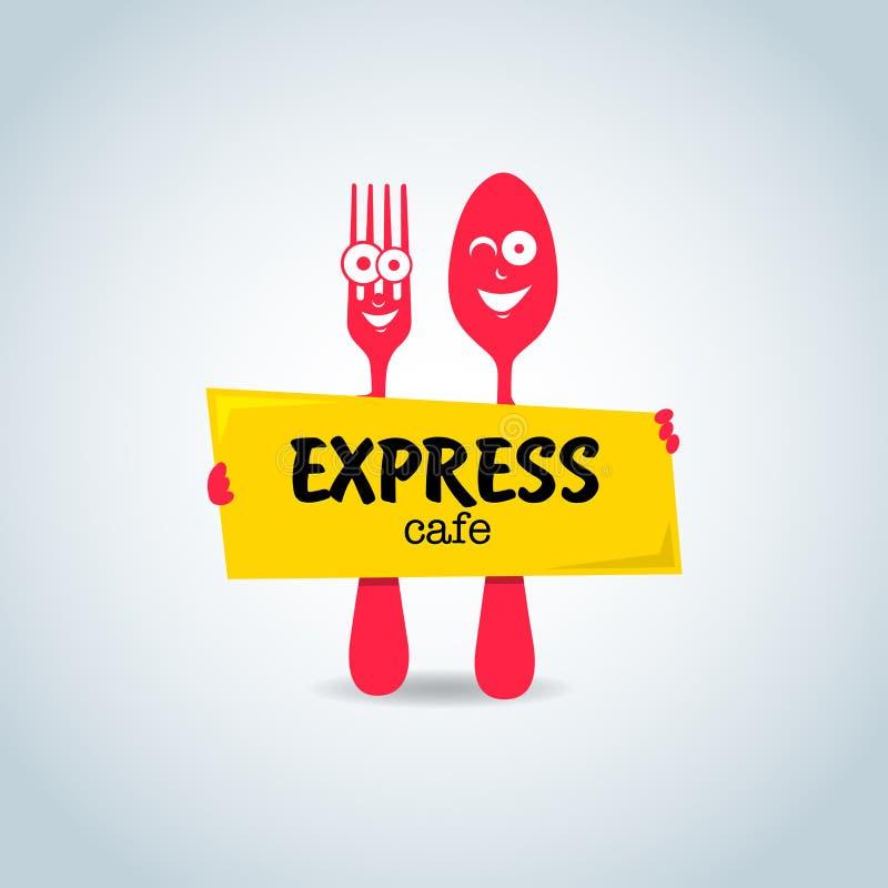 Aliments de préparation rapide, calibre exprès de logo de café Personnages de dessin animé de fourchette et de cuillère illustration stock