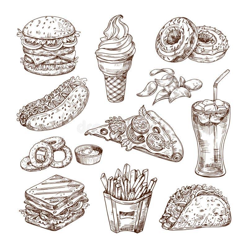 Aliments de préparation rapide de croquis Hot-dog d'hamburger, casse-croûte de sandwich, pommes chips et crème glacée, pizza de k illustration de vecteur