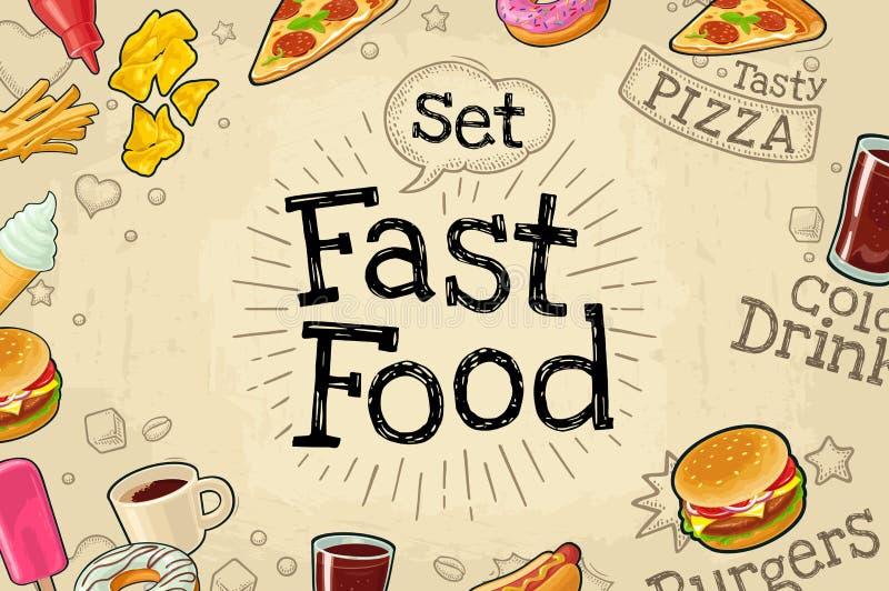 Aliments de préparation rapide d'affiche Illustration plate de couleur de vecteur sur le fond foncé illustration stock