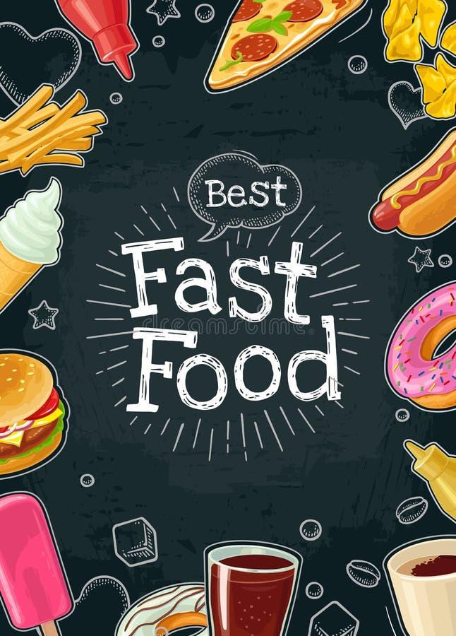 Aliments de préparation rapide d'affiche Illustration plate de couleur de vecteur sur le fond foncé illustration libre de droits