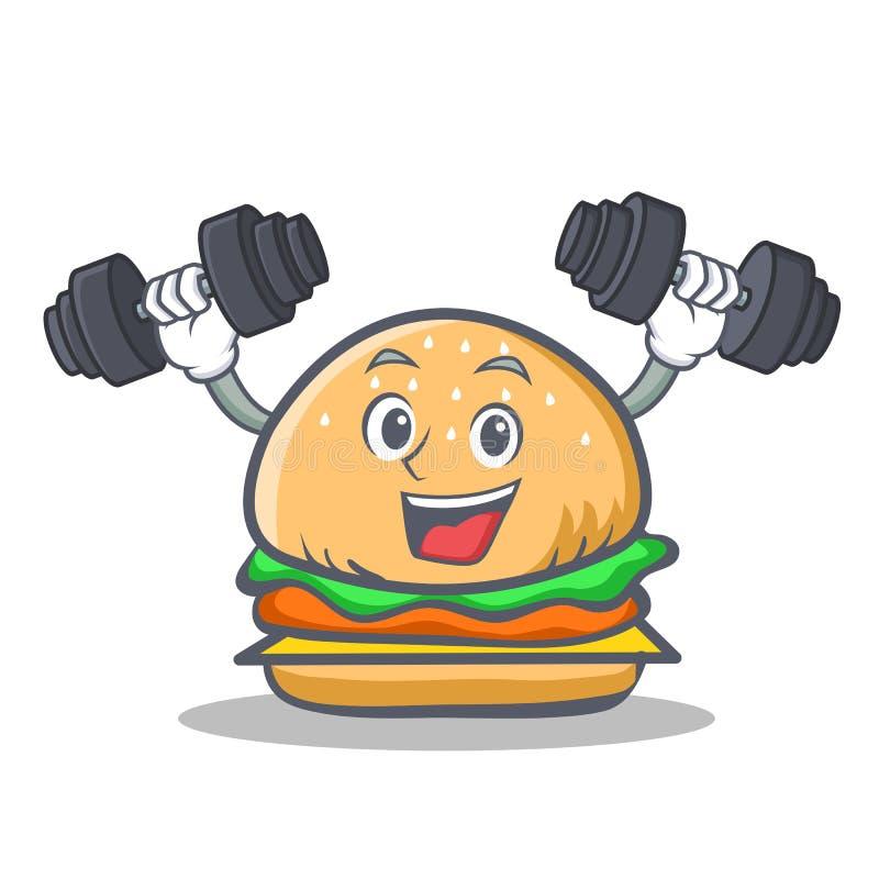 Aliments de préparation rapide de caractère d'hamburger de forme physique illustration de vecteur