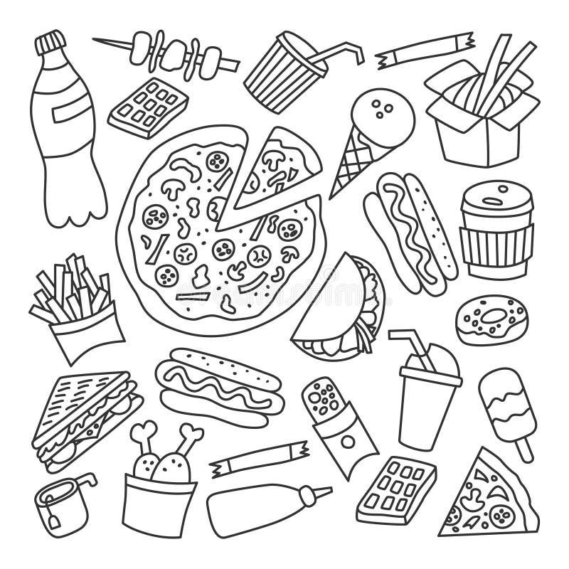 Aliments de préparation rapide Ensemble d'éléments dans le style de griffonnage et de bande dessinée contour illustration stock