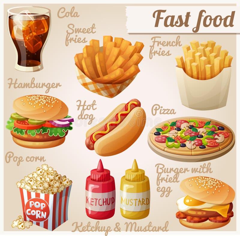 Aliments de préparation rapide Ensemble d'icônes de nourriture de vecteur de bande dessinée illustration de vecteur