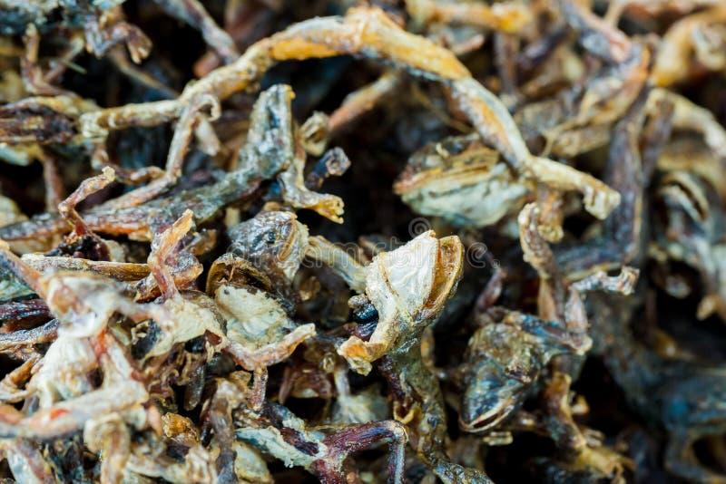 Aliments de préparation rapide frits de petites grenouilles à haute valeur protéique en Asie photographie stock