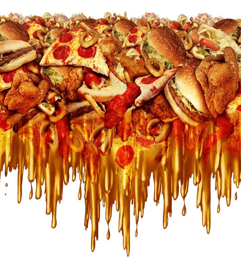 Aliments de préparation rapide gras illustration stock